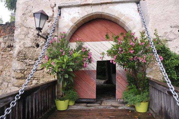 Der Eingang über die Brücke durch das Tor