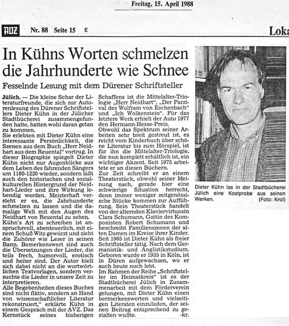 Jülicher Volkszeitung vom 15.04.1988