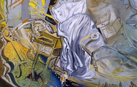 Сальвадор Дали. Кровать и две прикроватных тумбочки, яростно атакующие виолончель