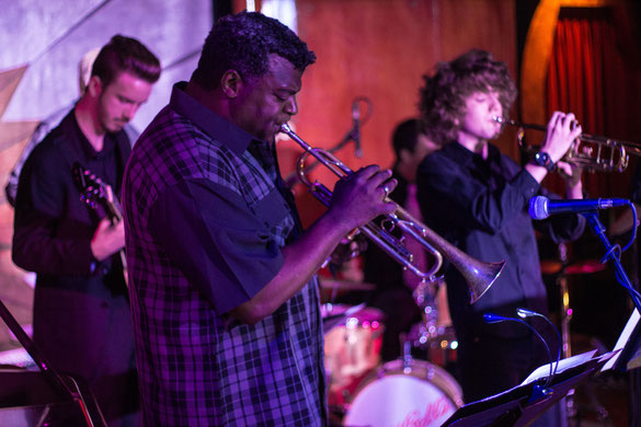 Instructor Douglas performs with students of Freddie Hubbard Combo at Cliff Bells
