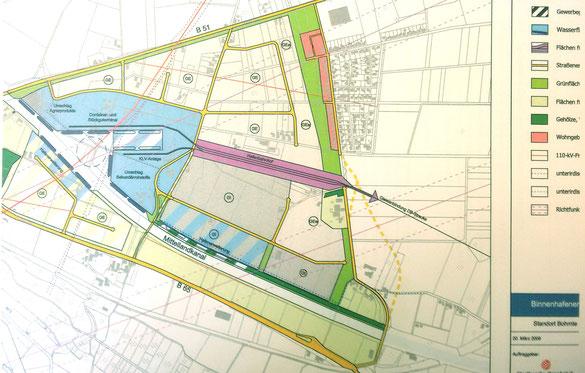 """Planung für einen Industriehafen in Bohmte, """"Ausbaustufe 2050+"""". Machbarkeitsstudie S. 39ff"""