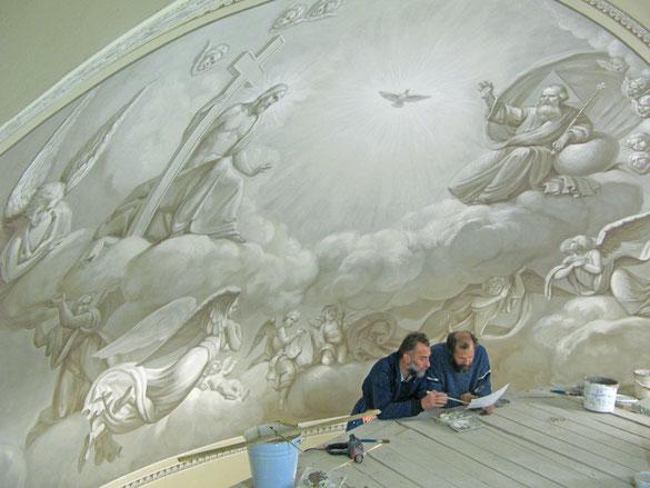 Во время работы над воссозданием росписей церкви Александра Невского в здании Сената