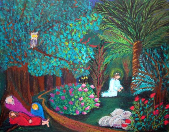 Gethsemani, Ölkreide, 21 x 30 cm. Beate Leibe 1991