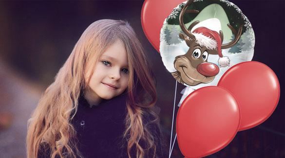Mädchen Weihnachten Ballon Luftballon Bouquet Rentier Rudolf rote Nase Folienballon Helium Geschenk Dekoration