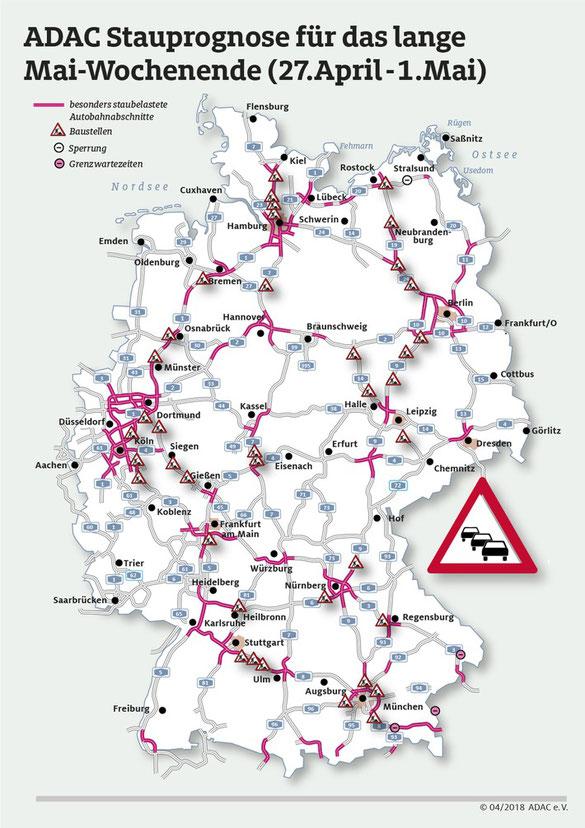 Die Stausituation auf Deutschlands Autobahnen für das aktuelle Wochenende (Grafik: obs / ADAC / ADAC e.V.)