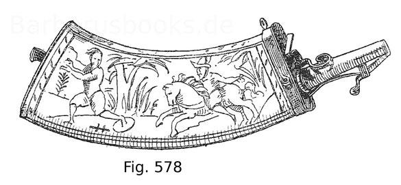Fig. 578. Gemeines Pulverhorn mit rohen Gravierungen ausgestattet. Niederländisch. Um 1580.