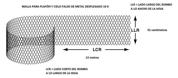 Malla para Plafón y Cielo Falso de Metal Desplegado 10 K medida del rollo