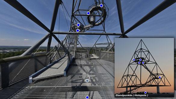 Tetraeder, Bottrop, 4 x 90° Aufnahmen auf Ebene 1