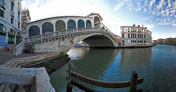 180°  Panorama, Ponte di Rialto ( Seufzerbrücke ), Venedig, Venezien