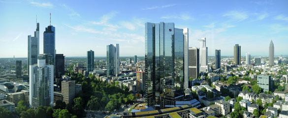 Freihand Panorama mit iPhone 4, Skyline aus Büro Operntower, Frankfurt