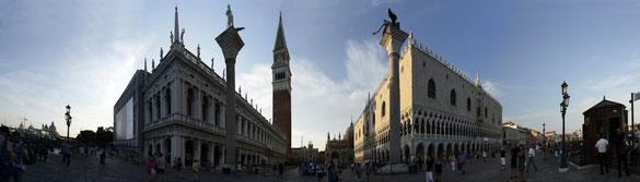 Freihand 180° Panorama, Markusplatz Venedig, Venezien