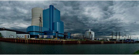 Freihand 180° Panorama, das neue eon-Steinkohlekraftwerk Datteln