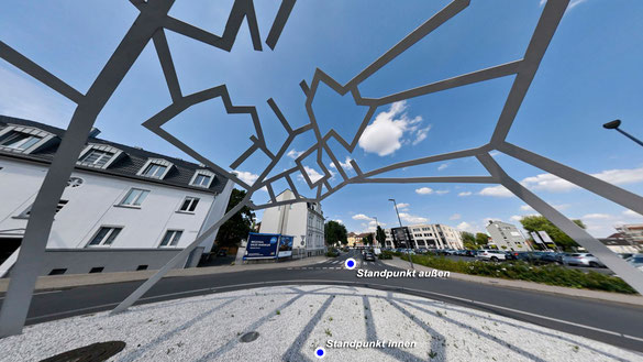 Danuta Karsten, Aufnahme des Recklinghäuser Straßennetzes in Kuppelwerk über einer Kreisverkehrisnsel der Stadt