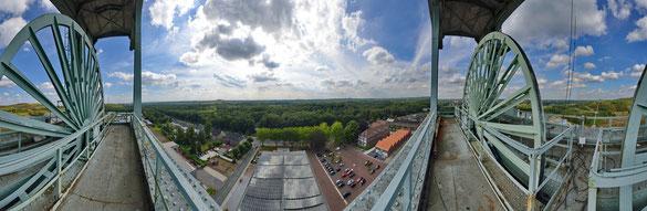 360° Panorama, auf dem Fördertum der Zeche Ewald, Herten
