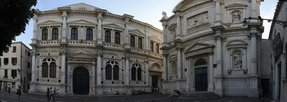 Freihand Panorama, Platz am Da Vinci Museum, Venedig, Venezien