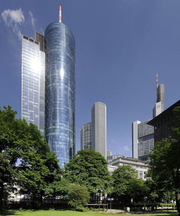 Freihand Vertikal-Panorama, Maintower, Frankfurt