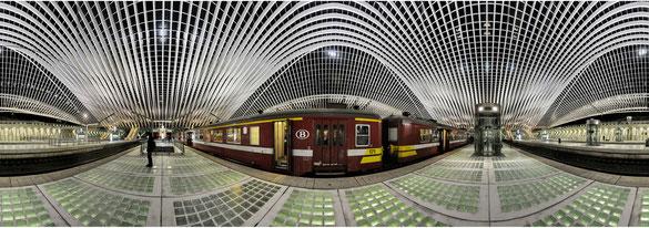 360° Panorama Bahnhof Guillemins Liége, Belgien