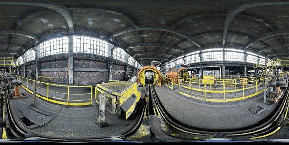 Eine Serie sphärischer Panoramen durch den Wagenumlauf Zeche Westerholt, Herten