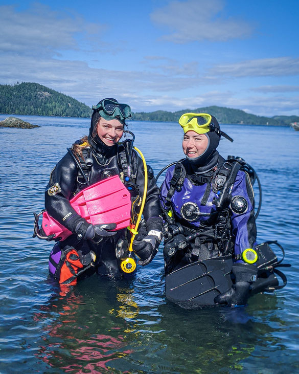 Suzie and Megan in their drysuits