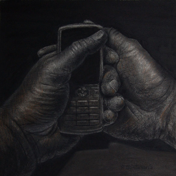 La Espera, 2014, carbón sobre papel, 33X33 cm
