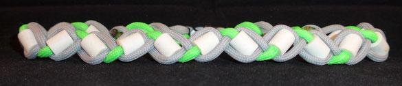 EM-Halsband Paracord silber-neongrün