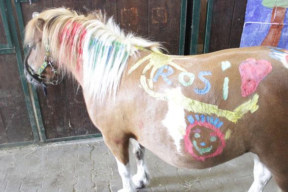Das Pferdebemalen macht nicht nur dem Künstler Spaß, auch unsere Ponys haben Gefallen an der Massage