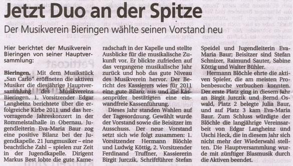 Schwäbisches Tagblatt vom 21.03.2012