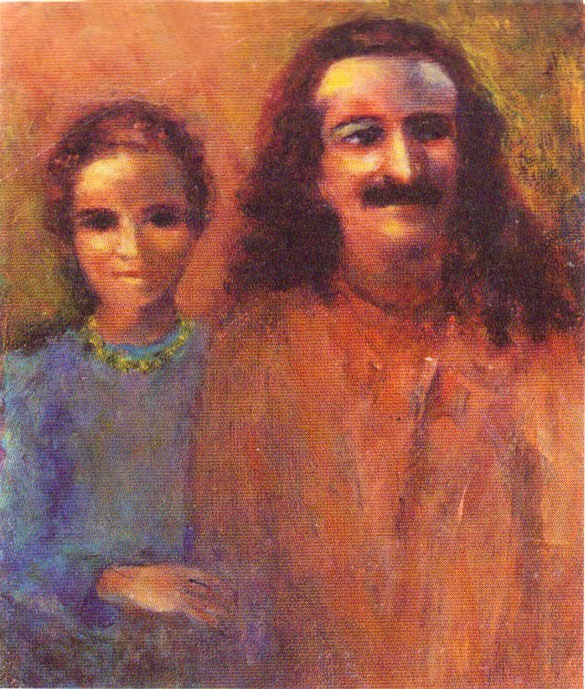 "This painting by Jane appeared on the back cover of the ""God-brother"" book by Mani Irani"