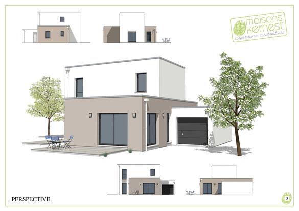 maison moderne à étage en toiture terrasse 3 chambres avec garage accolé et enduit marron clair et blanc