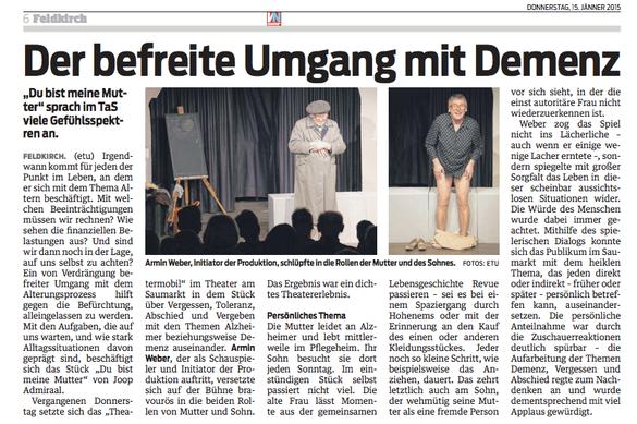 Nach meinem Auftritt im Theater am Saumarkt am 8.1. in den VN