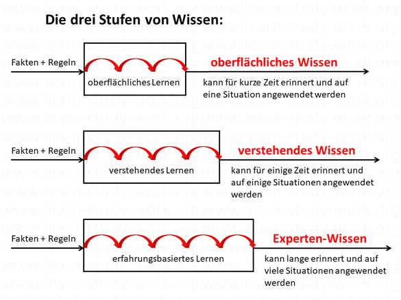 Arten - Stufen von Wissen - oberflächliches - verstehendes - Experten - www.learn-study-work.org