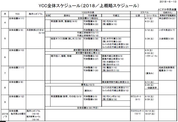 2018年度上期スケジュール表