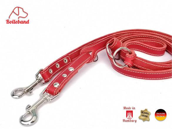 Hundeleine aus rotem Fettleder mit cremefarbener Doppelnaht 3 Verstellmöglichkeiten und 2 Karabinern