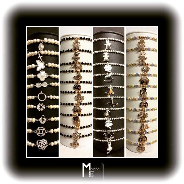 Bracciali elastici in argento con palline - perle - pietre nere e colorate con soggetti a tema