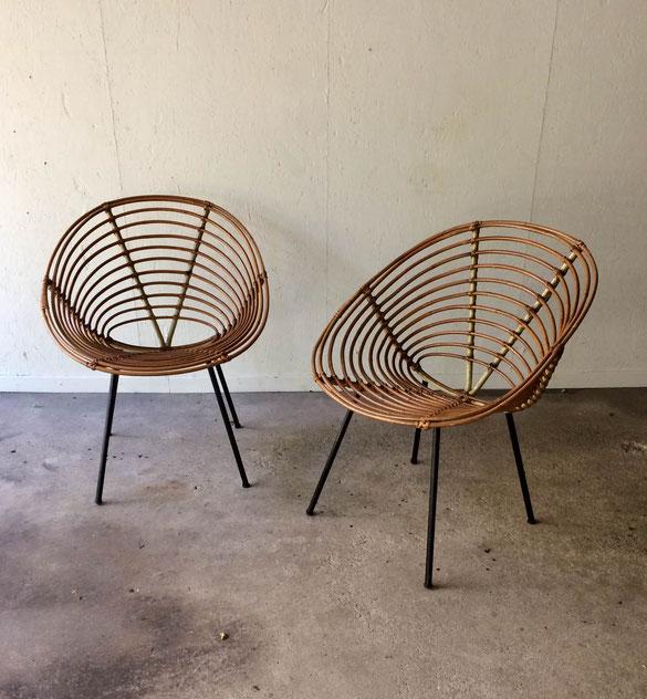 fauteuil Dirk Van Sliedrecht, Rohe Noordwolde, fauteuil coquille rotin
