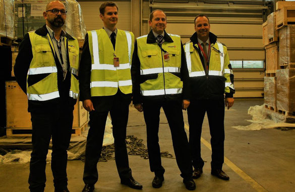 HAM Airport and Swissport cooperate since long in cargo matters. Shown here are (l > r)  Markus Eberhardt, Swissport  /  Alexander Laukenmann, HAM  /   Dirk Schmitt, Swissport  /  Alexander Mueller, HAM