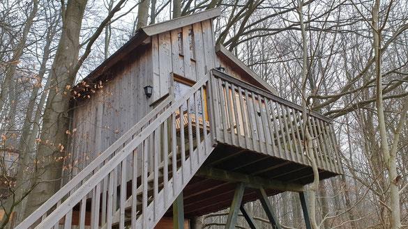 Baumhaus bei trüben Wetter.