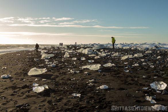 Jökulsarlon,Eisbrocken,schwarzer,Strand,Menschen,Island,Winter,Februar,Schnee.