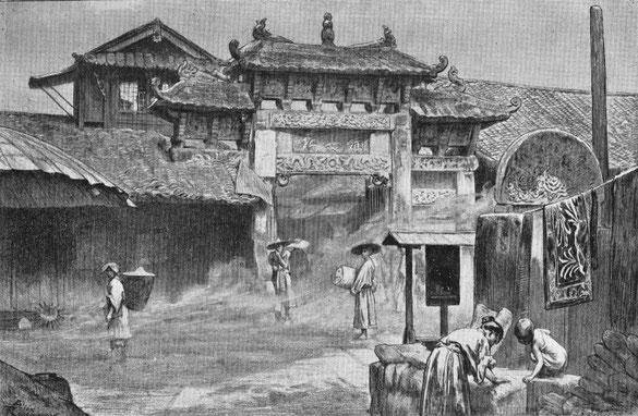Entrée de village au Yun-nan. - Mission lyonnaise d'exploration commerciale en Chine, 1895-1897. Récits de voyages. —  A. Rey et Cie, imprimeurs-éditeurs, Lyon, 1898.