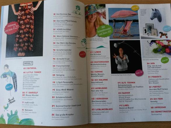 Rezension Handmade Kultur Magazin INhaltsverzeichnis