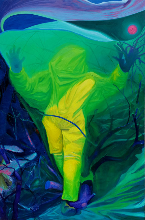 The unboxed. Looking forward, going backward / Oil on canvas / 210 x 140 cm