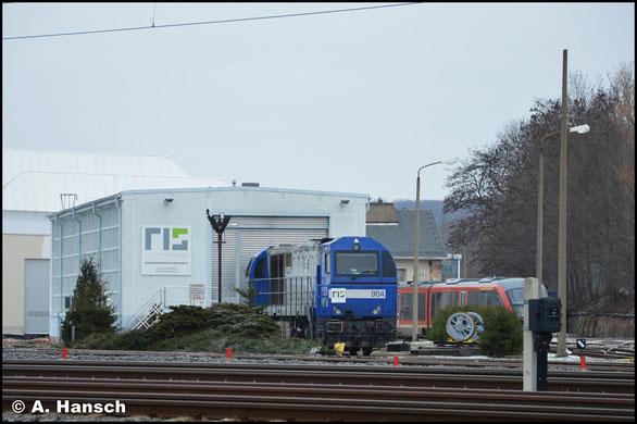 Am 20. Januar 2019 steht 273 008-3 (RBH 904) vorm RISS-Schuppen am AW Chemnitz
