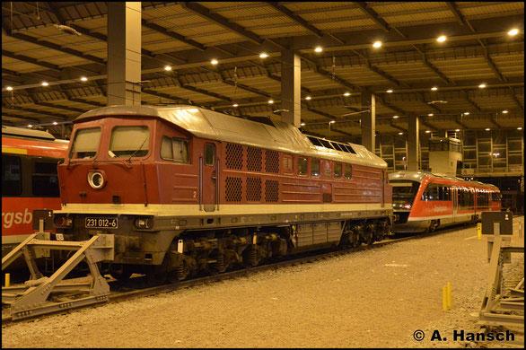 WFL beschäftigt als einziges Unternehmen eine BR 231. Am 24. Oktober 2015 ist die Lok in der Halle des Chemnitzer Hbf. abgestellt