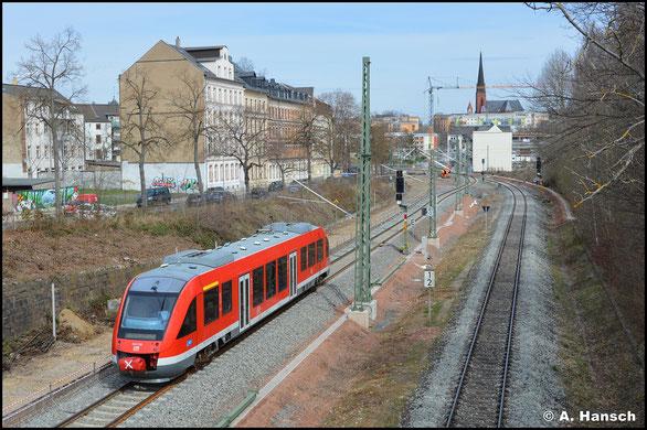 Die BR 640 ist in Chemnitz normalerweise nicht zu sehen. Am 09.04.2021 bestätigt 640 028 als Ausnahme die Regel