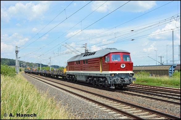 Inzwischen neu hauptuntersucht und lackiert, ist 231 012-6 am 19. Juni 2019 bei Gleisbauarbeiten am VW-Werk Mosel bei Zwickau zu Gange