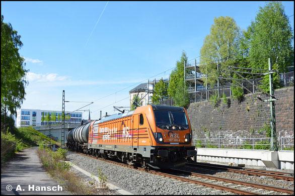 Am 27. April 2018 überrascht mich 187 500-4 mit einem Kesselwagenzug im Chemnitzer Stadtgebiet