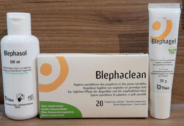 Abbildung von Blephagel Duo, Blephaclean und Blephasol