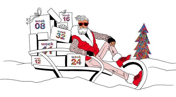 """Zeichnung """"cool santa"""""""