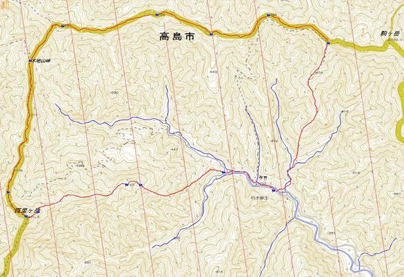 今回のルート(距離 一周約12km  累積標高差 約1,100m)