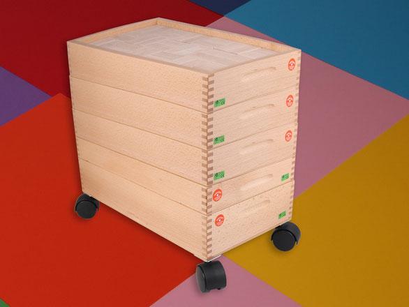 Holzspielzeug Beck  kompletter Bauwagen mit 5 Kästen